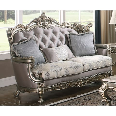 Ophelia Antique Gold Tufted Back Loveseat