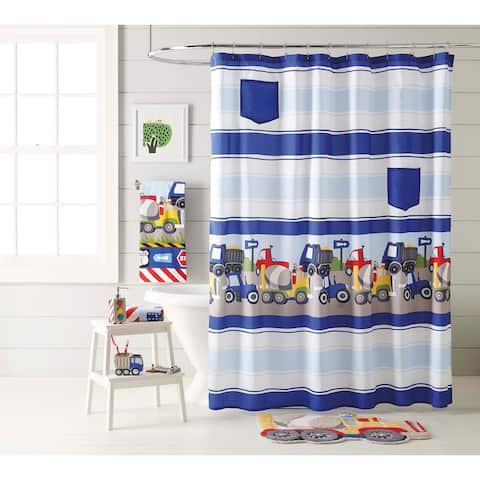 Dream Factory Trains and Trucks Shower Curtain - Yellow - 70' x 72'