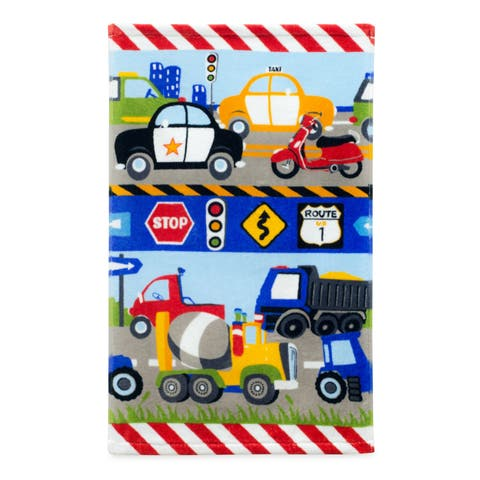 Dream Factory Trains and Trucks Cotton Hand Towel - 16W x 26L