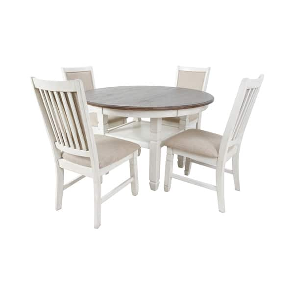Prairie Point Cottage White 47-inch Round Dining Table