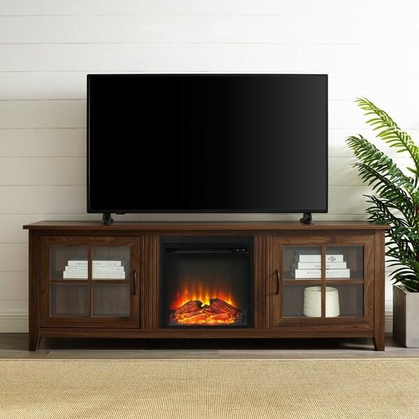 Shop 70 Glass Door Fireplace Tv Console 70 X 16 X 24h Free