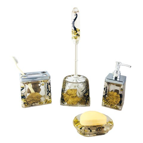 Bathroom Set of 5, Golden Leaves, Pearls, & Black Branches
