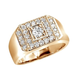 Statement Mens Diamond Ring In 14K Gold 1 1ctw G H Color By Luxurman
