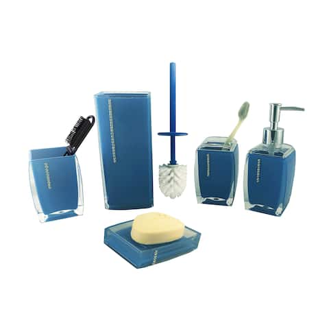 Bathroom Set 6-Piece Storage Set Deep Blue w/ Crystal Accents