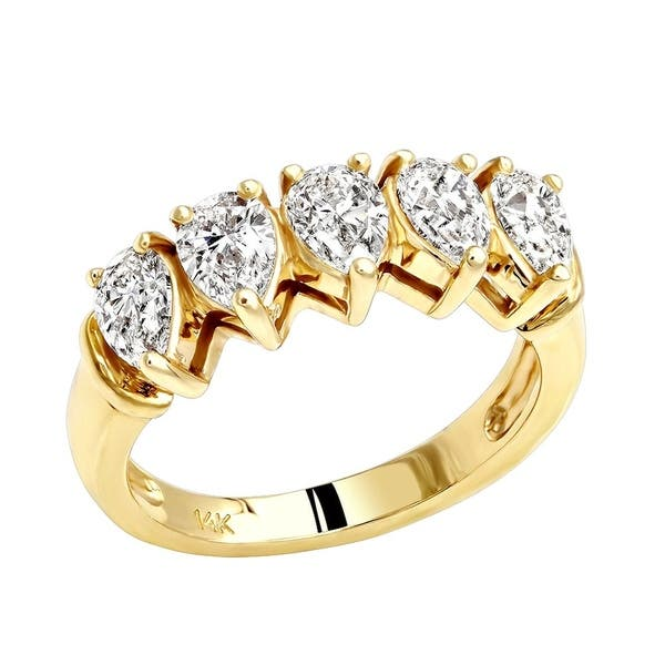 Shop Ladies Unique Pear Diamond Wedding Band 5 Stone Anniversary