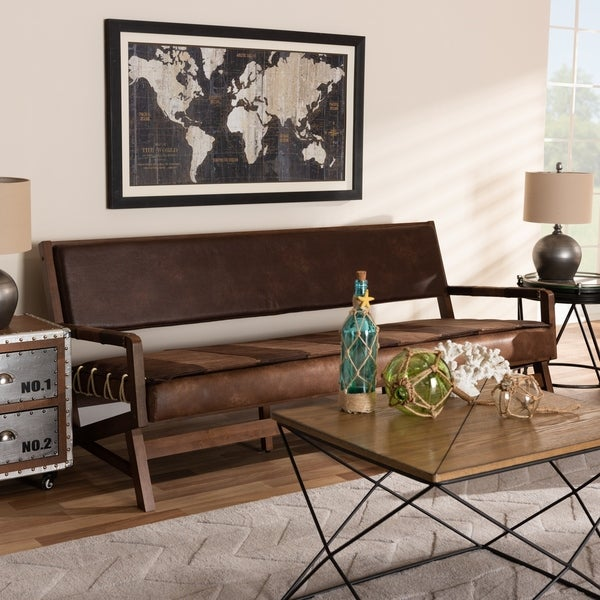Shop Baxton Studio Rustic Brown Faux Leather Sofa - On Sale - Free ...