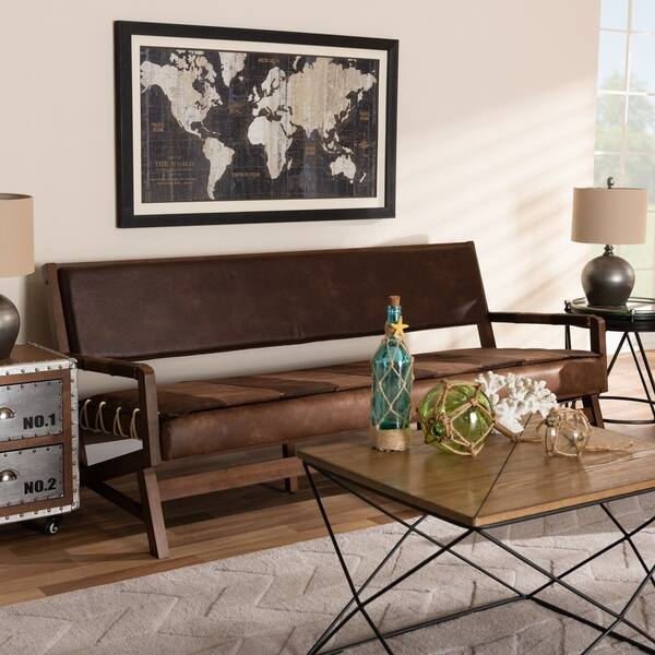 Amazing Shop Baxton Studio Rustic Brown Faux Leather Sofa On Sale Caraccident5 Cool Chair Designs And Ideas Caraccident5Info