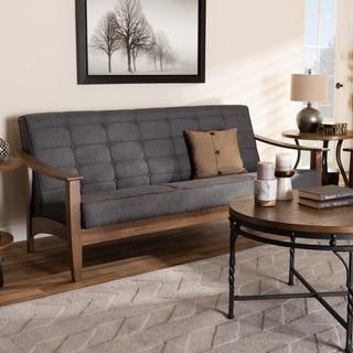 Mid-Century Gray Fabric Sofa