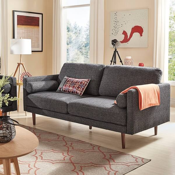 Fabulous Shop Oana Heathered Black Sofa With Rolled Pillows By Machost Co Dining Chair Design Ideas Machostcouk