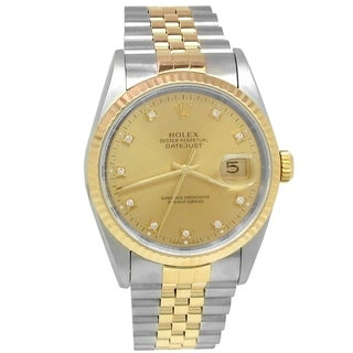 Pre-owned 36mm Rolex 18k Yellow Gold and Stainless Steel Oyster Perpetual Datejust Watcn with Champagne Diamond Dial - N/A