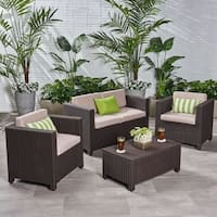 Waverly Outdoor 4 Seater Faux Wicker Chat Set with Cushions by Christopher Knight Home