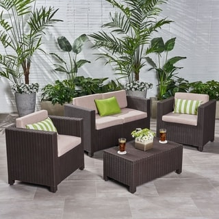 Link to Waverly Outdoor 4-seater All-weather Chat Set with Cushions by Christopher Knight Home Similar Items in Outdoor Loveseat