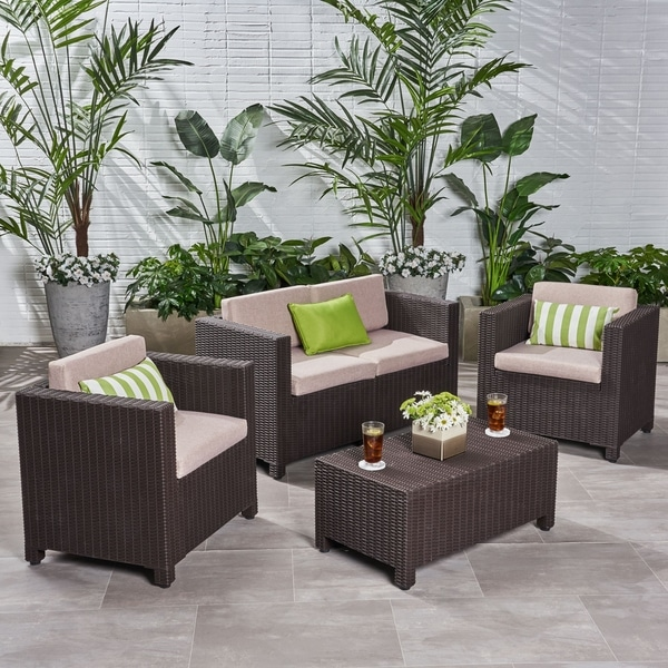Waverly Outdoor 4-seater All-weather Chat Set with Cushions by Christopher Knight Home. Opens flyout.