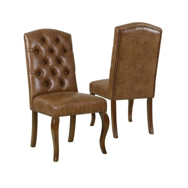 Set Of 2 Dining Room Furniture Tufted Brown Leather Dining: Shop HomePop Tufted Back Dining Chair