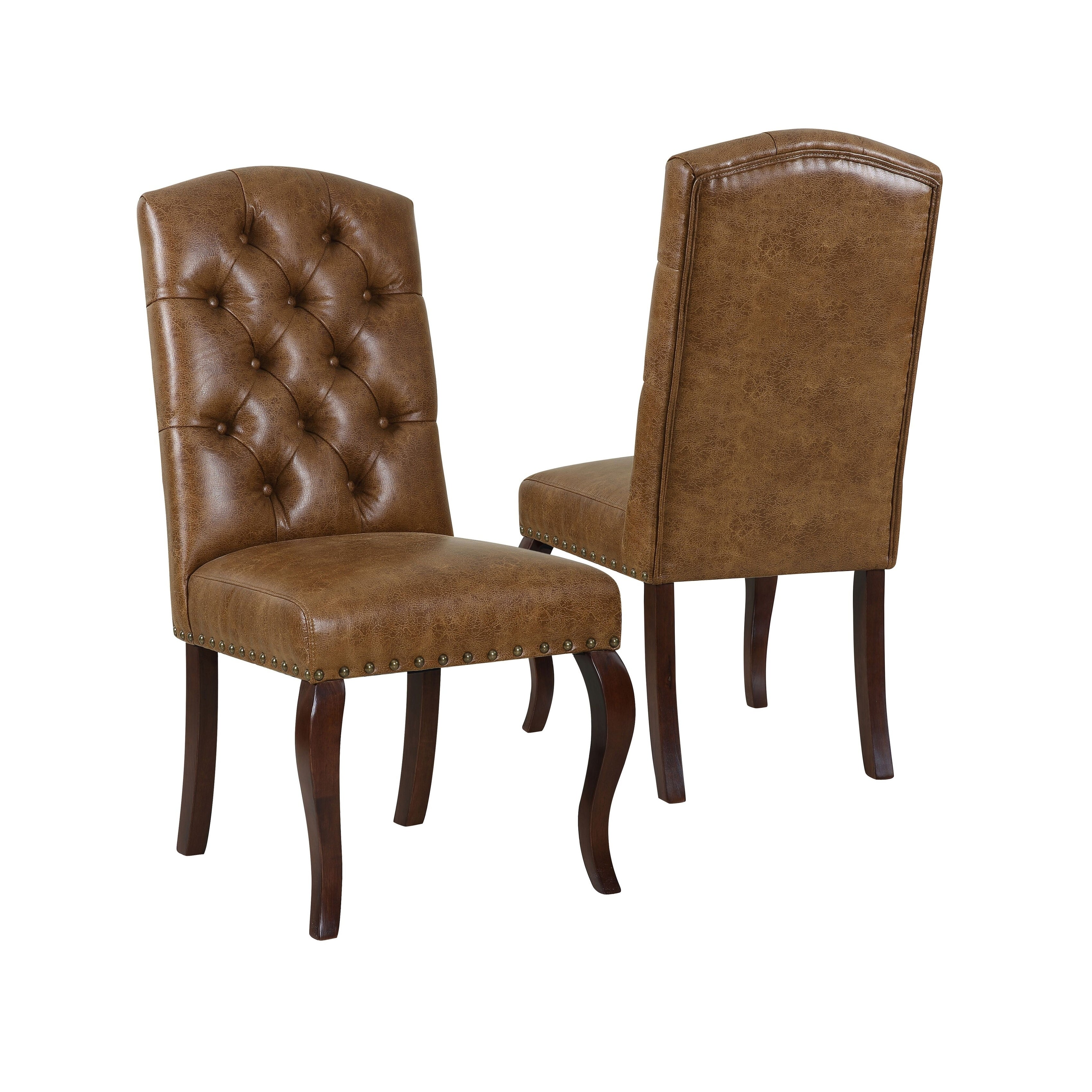 Homepop Tufted Back Dining Chair Light Brown Faux Leather Set Of 2