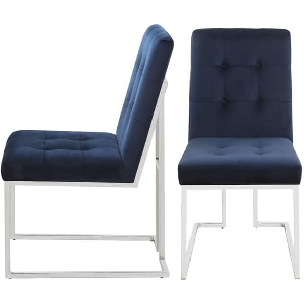 Awesome Shop Modern Classic Button Tufted Blue Velvet And Chrome Camellatalisay Diy Chair Ideas Camellatalisaycom