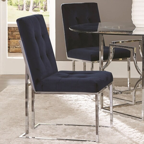 Chrome Dining Room Chairs: Shop Modern Classic Button-tufted Blue Velvet And Chrome