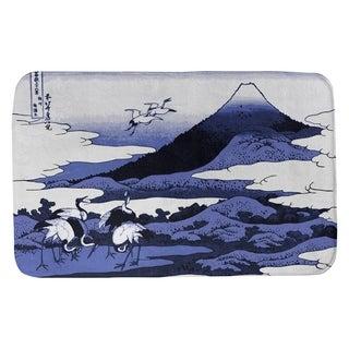 Katsushika Hokusai Japanese Cranes in Blue Bath Mat