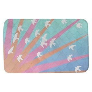 Katelyn Smith Birds and Sun Orange, Pink, Blue Ombre Bath Mat
