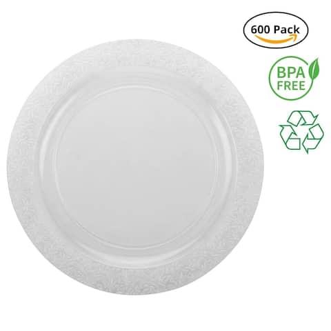 Party Joy 600-Piece Lace Clear Plastic Plate Set, 600 Appetizer & Dessert Plates Heavy Duty Premium Plastic Plates, Clear