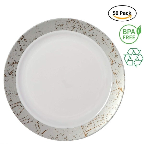 Party Joy 50-Piece Plastic Salad Plate Set Marble Collection Heavy Duty Premium Plastic Plates, Silver. Opens flyout.