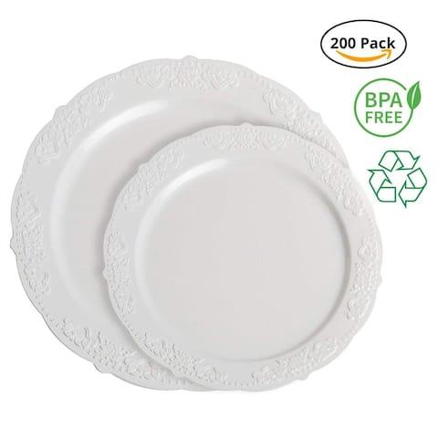 Party Joy 200-Piece Royale Plastic Plate Set, 100 Salad Plates &, 100 Dinner Plates Heavy Duty Premium Plastic Plates, White
