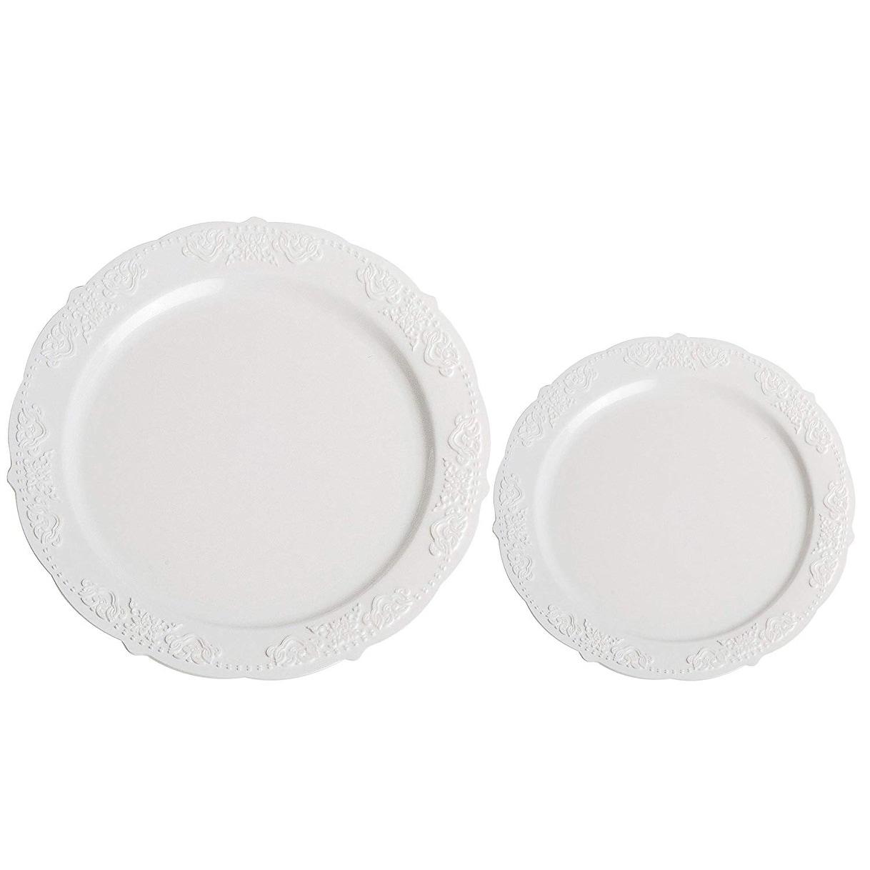Party Joy 200 Piece Royale Plastic Plate Set 100 Salad Plates 100 Dinner Plates Heavy Duty Premium Plastic Plates White Overstock 27165902