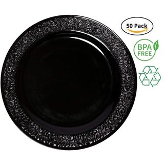 Link to Party Joy 50-Piece Plastic Salad Plate Set Lace Collection Heavy Duty Premium Plastic Plates, Black Similar Items in Dinnerware