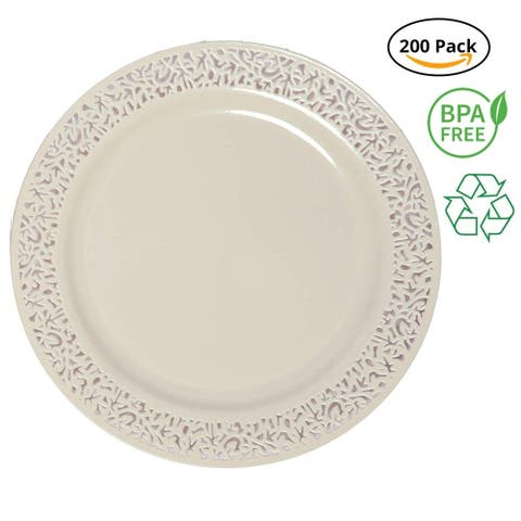 Party Joy 200-Piece Plastic Dinner Plate Set Lace Collection Heavy Duty Premium Plastic Plates, Ivory