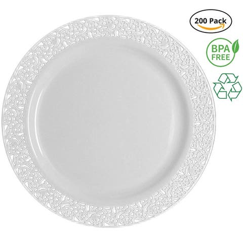 Party Joy 200-Piece Royale White Plastic Plate Set, 200 Salad Plates Heavy Duty Premium Plastic Plates, White