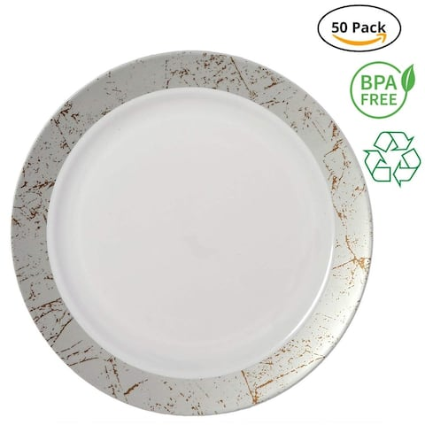 Party Joy 50-Piece Plastic Dinner Plate Set Marble Collection Heavy Duty Premium Plastic Plates, Silver
