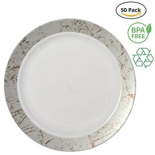 Link to Party Joy 50-Piece Plastic Dinner Plate Set Marble Collection Heavy Duty Premium Plastic Plates, Silver Similar Items in Dinnerware