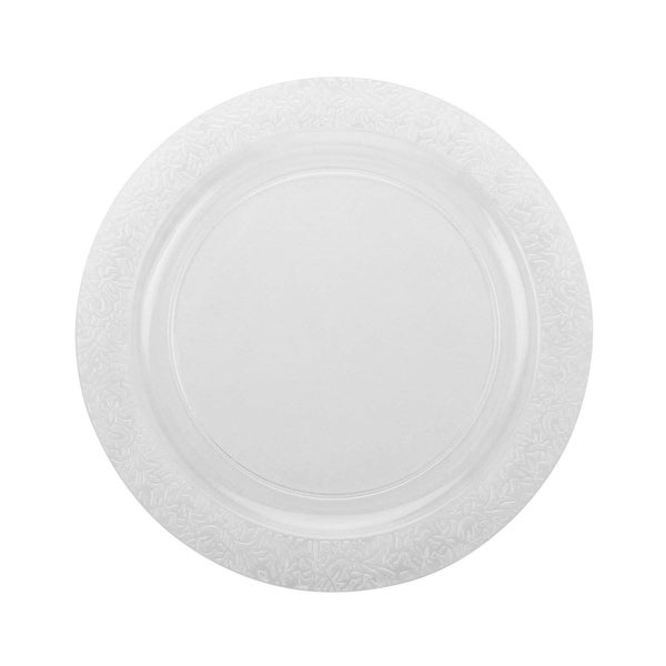 """Party Joy 6"""" Lace Clear Plastic Plates, Pack of 100"""