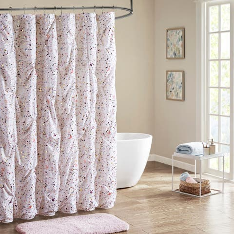 Intelligent Design Lara Plum/ Pink Pintucked Metallic Printed Shower Curtain