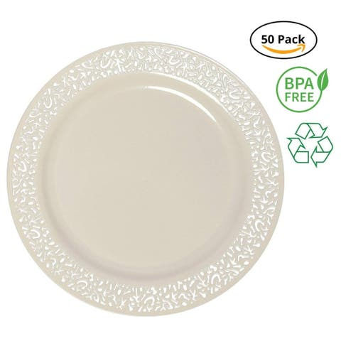 Party Joy 50-Piece Plastic Dinner Plate Set Lace Collection Heavy Duty Premium Plastic Plates, Ivory