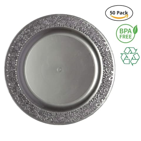 Party Joy 50-Piece Plastic Dinner Plate Set Lace Collection Heavy Duty Premium Plastic Plates, Grey