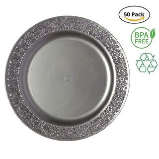 Link to Party Joy 50-Piece Plastic Dinner Plate Set Lace Collection Heavy Duty Premium Plastic Plates, Grey Similar Items in Dinnerware