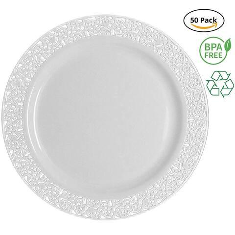 Party Joy Plastic Lace Salad Plates, White, Pack of 50