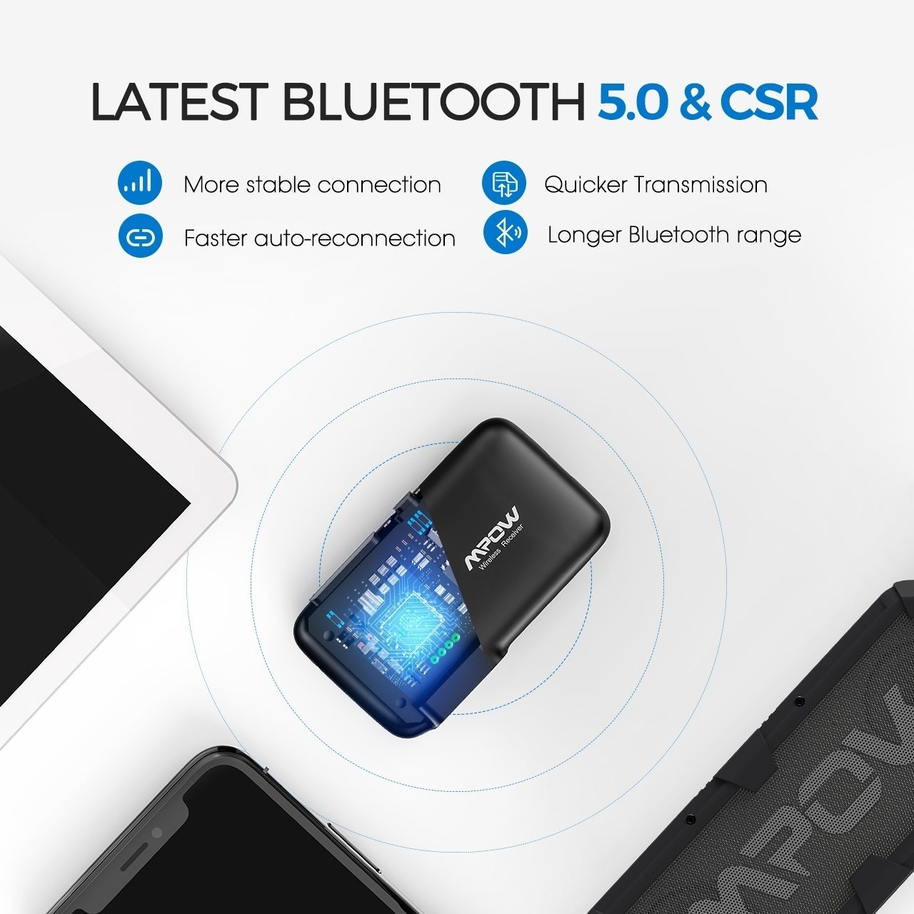 Shop The Newest Mpow Bluetooth 5 0 Wireless Receiver With Csr Core 15hs Playtime And 30m Connection Range On Sale Overstock 27166246