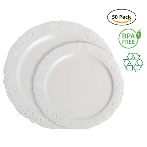 Party Joy Royal White Plastic Plate Set, Pack of 50