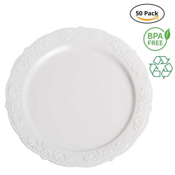 """Party Joy 10"""" Royale White Plastic Plates, Pack of 50"""