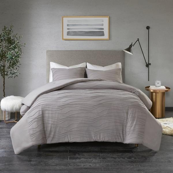 Madison Park Coreen Grey Cotton Blend Jersey Knit Pleated Comforter Set
