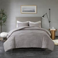 Madison Park Coreen Grey Cotton Blend Jersey Knit Pleated Comforter Set