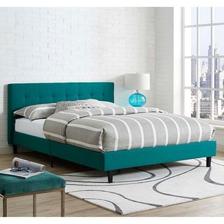 Copper Grove Silistra Queen-size Teal Fabric Platform Bed with Tufted Headboard