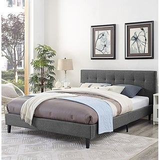 Copper Grove Silistra Queen-size Grey Fabric Platform Bed with Tufted Headboard