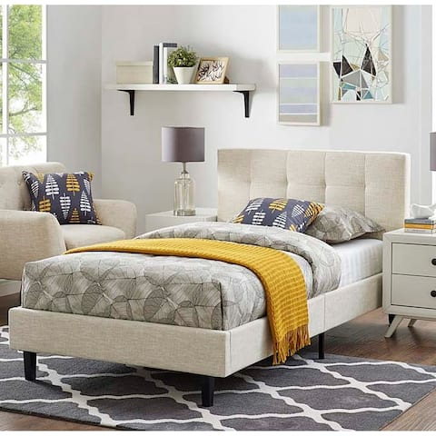 Copper Grove Silistra Twin-size Beige Fabric Platform Bed with Tufted Headboard