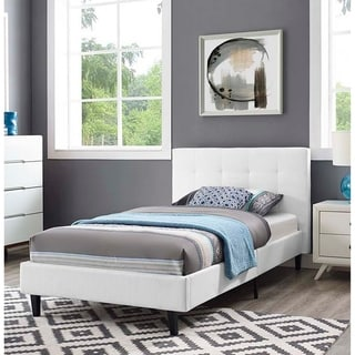 Copper Grove Silistra Twin-size White Fabric Platform Bed with Tufted Headboard