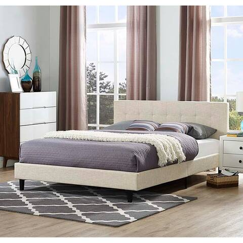 Copper Grove Silistra Queen-size Beige Fabric Platform Bed with Tufted Headboard