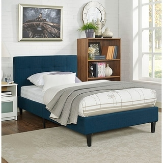 Copper Grove Silistra Twin-size Blue Fabric Platform Bed with Tufted Headboard