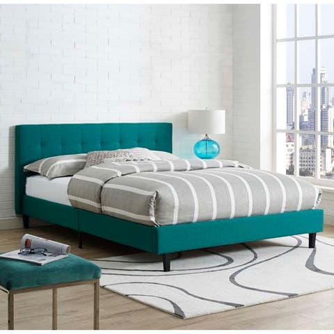 Copper Grove Silistra Full-size Teal Fabric Platform Bed with Tufted Headboard